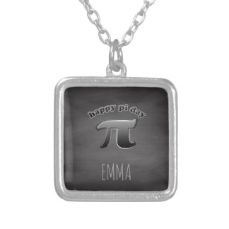 Happy Pi Day | Pi Symbol Math Teachers March 14 Silver Plated Necklace