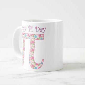 Happy Pi Day Pink Flowers Jumbo Mug