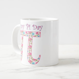 Happy Pi Day Pink Flowers 20 Oz Large Ceramic Coffee Mug