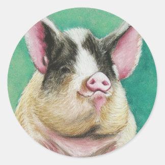 happy pig animal painting round sticker