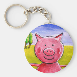 Happy Pig Basic Round Button Key Ring