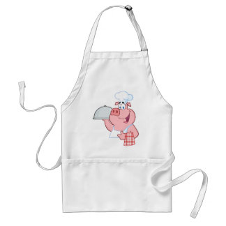 Happy Pig Chef Holding A Platter Sign Adult Apron