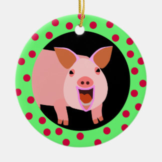 Happy Pig Holiday Ornament
