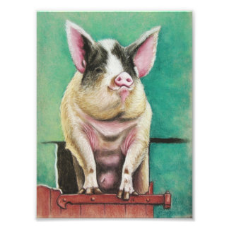 happy pig in pastel animal painting photo print