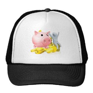 Happy piggy bank man trucker hat