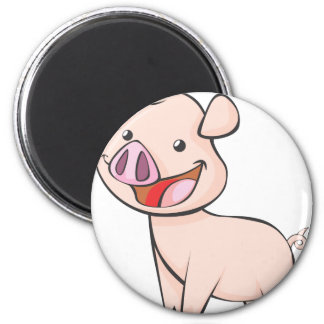 Happy Piglet with a Big Smile 6 Cm Round Magnet