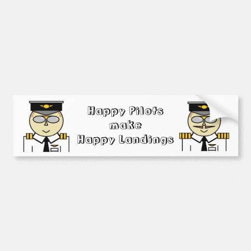 Happy pilots make happy landings Sticker Bumper Stickers