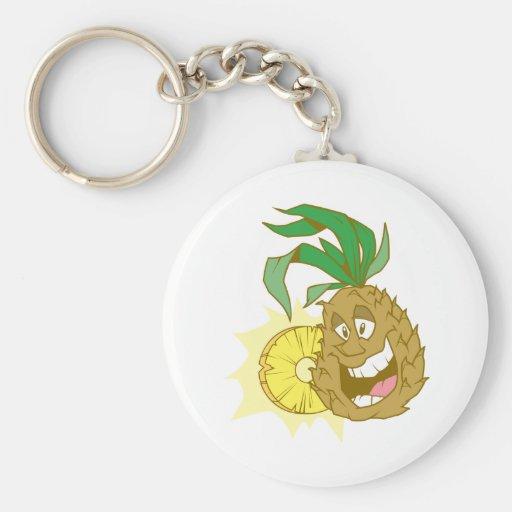 happy pineapple character dude key chain