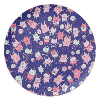 Happy Pink and Purple Party Cats Plate