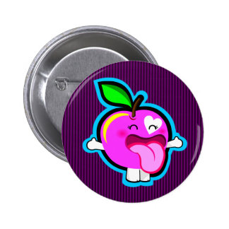 Happy pink apple button