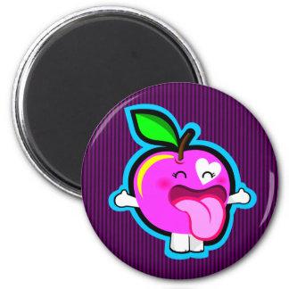 Happy pink apple magnet