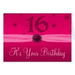 Happy Pink Birthday 16 Congrats Greeting Card