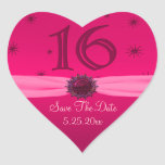 Happy Pink Birthday 16 Fun Heart Sticker