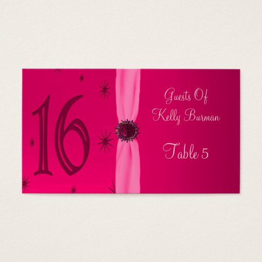 Happy Pink Birthday 16 Place Business Card