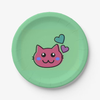 happy pink  cat emoji on green backround 7 inch paper plate