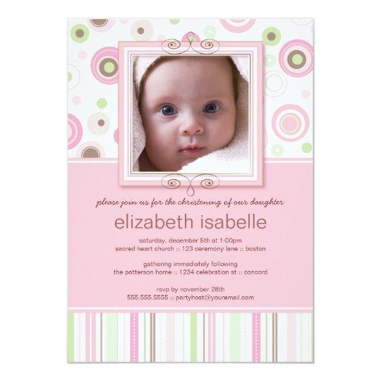 Happy Pink Dots Baby Photo Christening Invitation