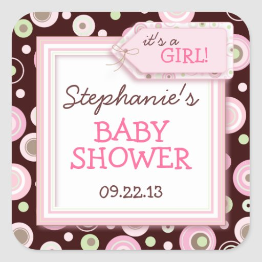 Happy Pink Dots Girl Baby Favor & Envelope Sticker