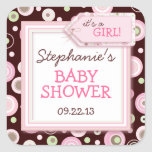 Happy Pink Dots Girl Baby Favour & Envelope Square Stickers