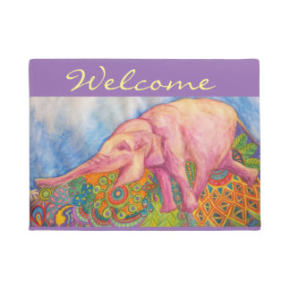 happy pink elephant welcome mat