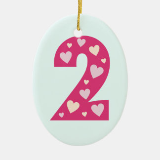 Happy Pink Hearts Number 2 Birthday Ornament