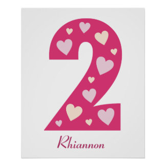 Happy Pink Hearts Number 2 Birthday Poster