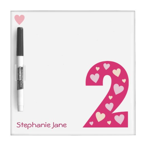 Happy Pink Hearts Number 2 Dry-Erase Board