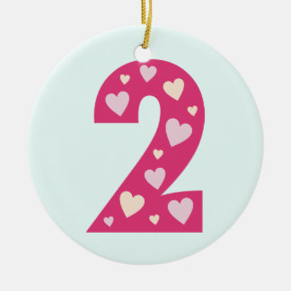 Happy Pink Hearts Number 2 Ornament (Circle)