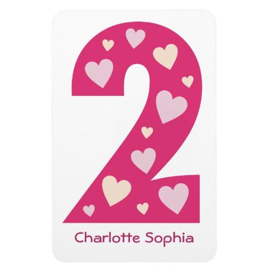 Happy Pink Hearts Number 2 Premium Magnet
