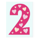 Happy Pink Hearts Number Two Postcard Party Invite