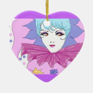 Happy Pink Joker Ceramic Heart Decoration