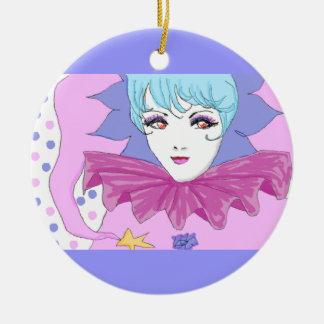 Happy Pink Joker Round Ceramic Decoration