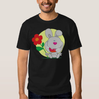 Happy Pink Nosed Bunny Holds Flower Shirts