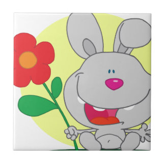 Happy Pink Nosed Bunny Holds Flower Small Square Tile