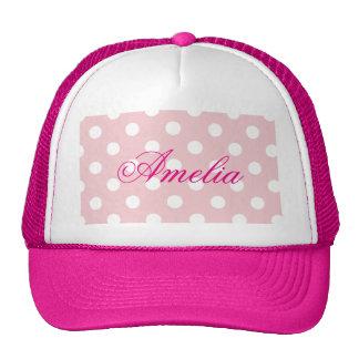 Happy ,pink, polka dot,white,girly,country,chic trucker hat