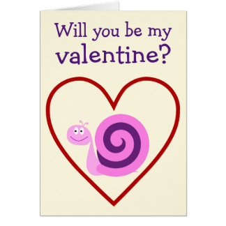 Happy Pink & Purple Snail: Be my valentine? Card