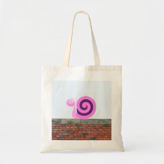 Happy Pink & Purple Snail Character on a Wall Tote Bag