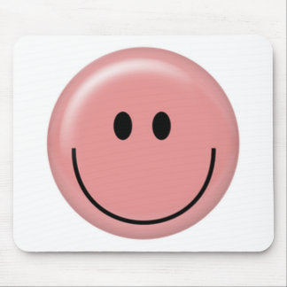 Happy pink smiley face mouse pad