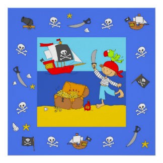 Happy Pirate with treasure Poster
