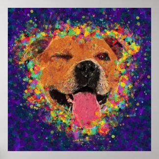 Happy Pit Bull Pop Art Poster