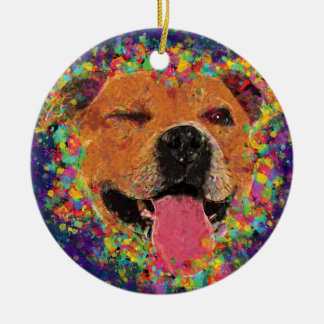 Happy Pit Bull Pop Art Round Ceramic Decoration