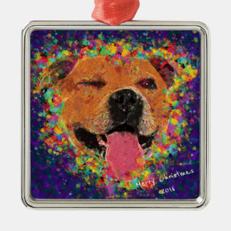 Happy Pit Bull Pop Art Silver-Colored Square Decoration