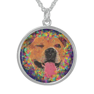 Happy Pit Bull Pop Art Sterling Silver Necklace