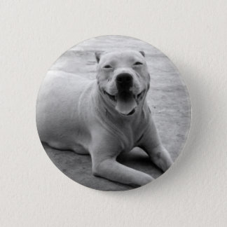 Happy pitbull round button