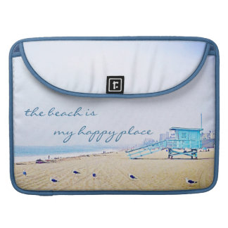 """Happy place"" aqua beach photo Macbook Pro sleeve"