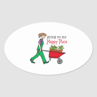 Happy Place Oval Sticker