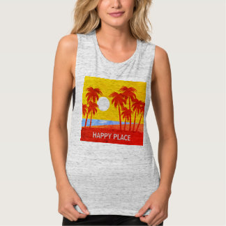 Happy Place Palm Trees & Sunshine Gray Muscle Tank