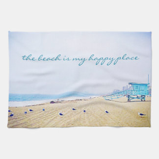 """Happy place"" quote aqua beach photo kitchen towel"