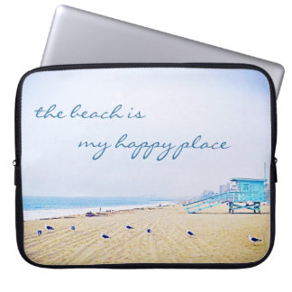 """Happy place"" quote aqua beach photo laptop sleeve"