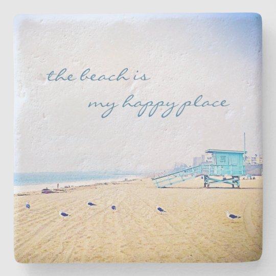 """Happy place"" quote aqua beach photo stone coaster"