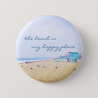 """Happy place"" quote aqua sky & sandy beach photo 6 Cm Round Badge"